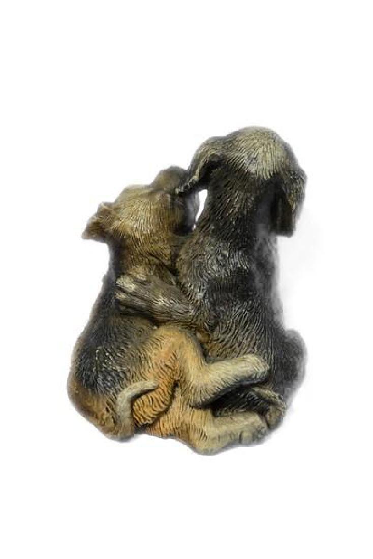 Multi Color Vienna Two Labrador Dogs Bronze Sculpture - 3