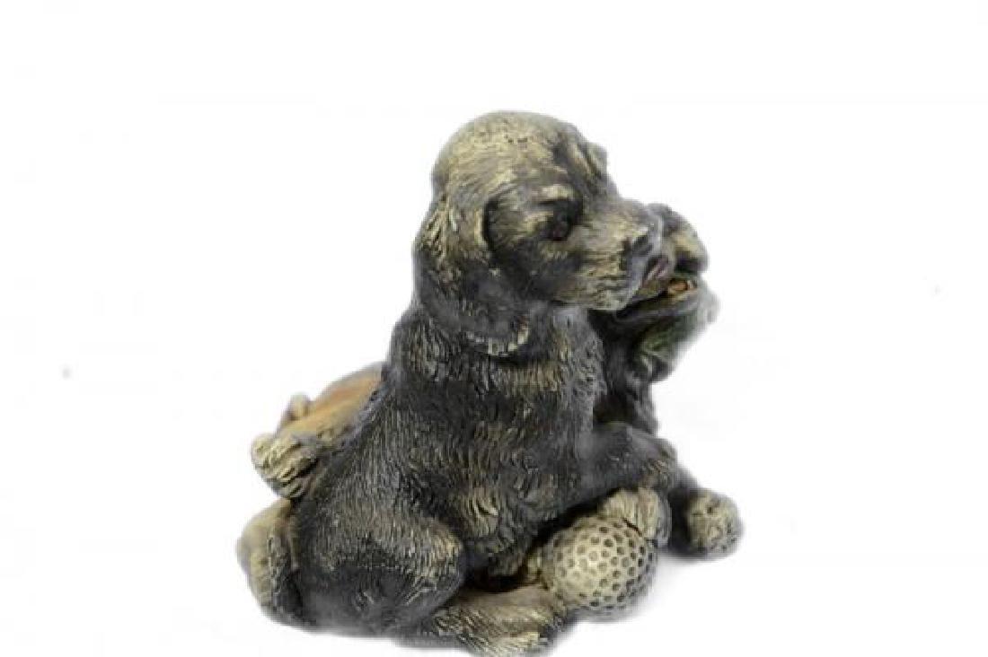 Multi Color Vienna Two Labrador Dogs Bronze Sculpture - 4