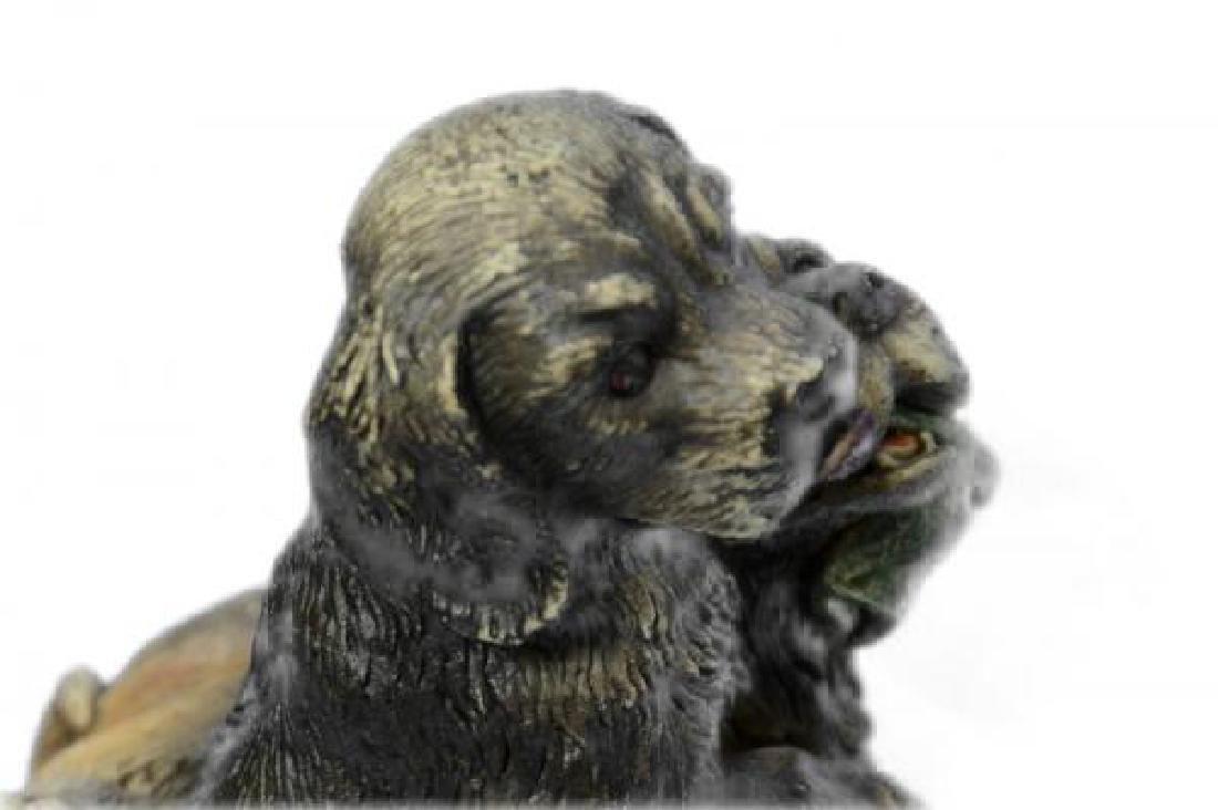 Multi Color Vienna Two Labrador Dogs Bronze Sculpture - 5