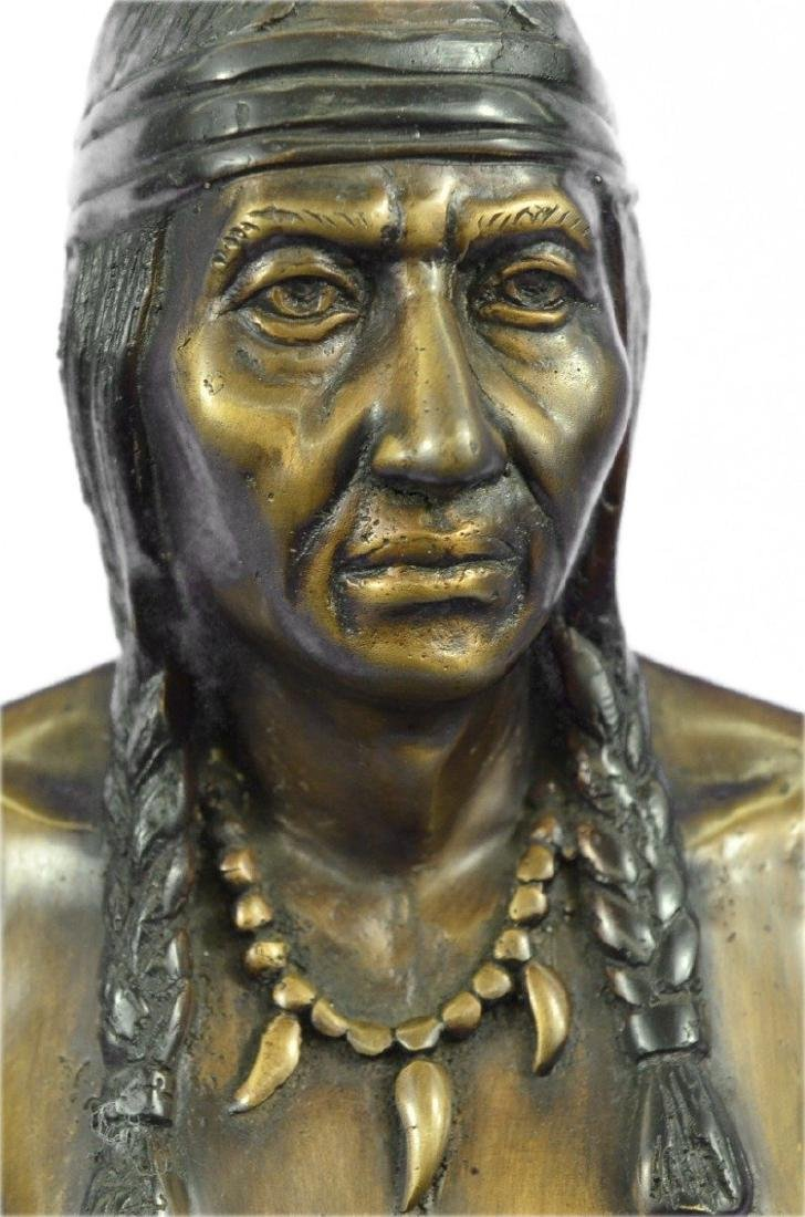 Native American Indian Warrior Chief Bust Bronze - 2