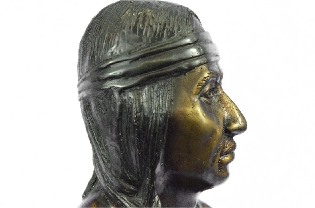 Native American Indian Warrior Chief Bust Bronze - 3