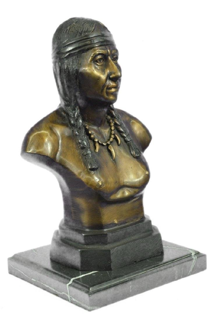Native American Indian Warrior Chief Bust Bronze - 4