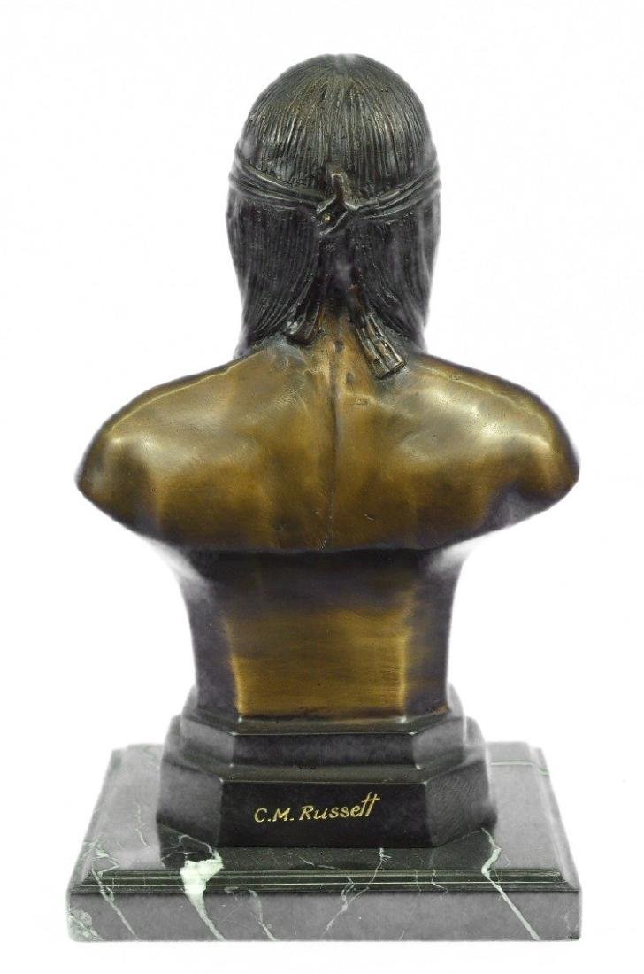 Native American Indian Warrior Chief Bust Bronze - 6