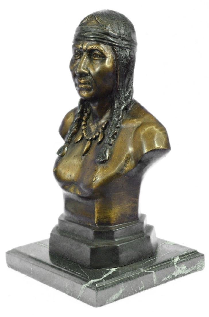 Native American Indian Warrior Chief Bust Bronze - 8