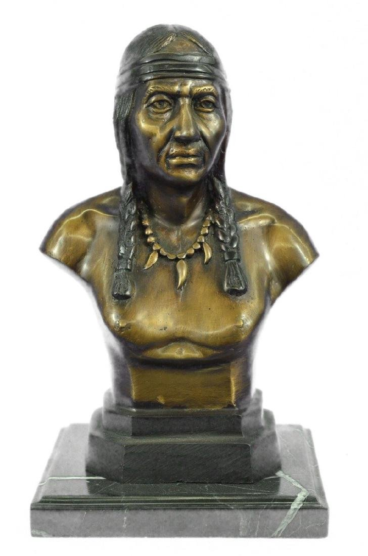 Native American Indian Warrior Chief Bust Bronze - 9