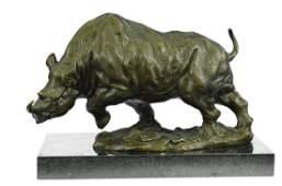 White Rhino Bronze Sculpture on Marble Base Figurine