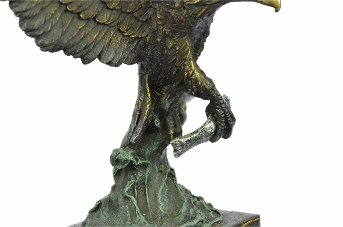 Swooping Eagle Catching Fish Wildlife Bronze Sculpture - 3