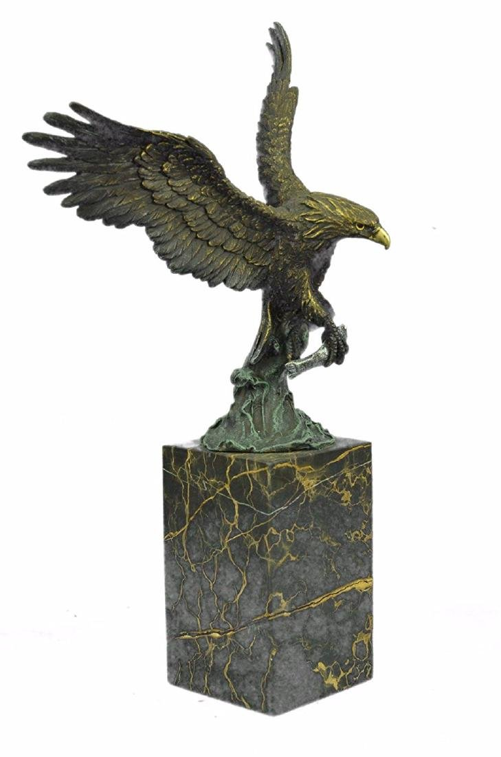 Swooping Eagle Catching Fish Wildlife Bronze Sculpture - 9