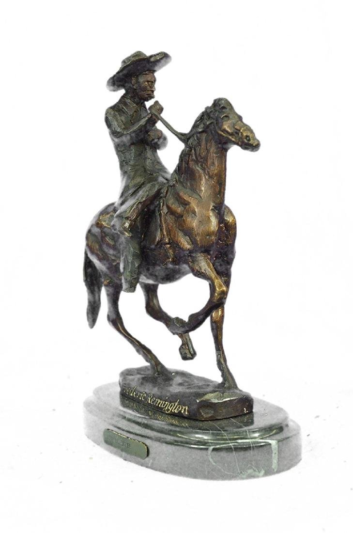 Horse and Cowboy Bronze Sculpture - 5
