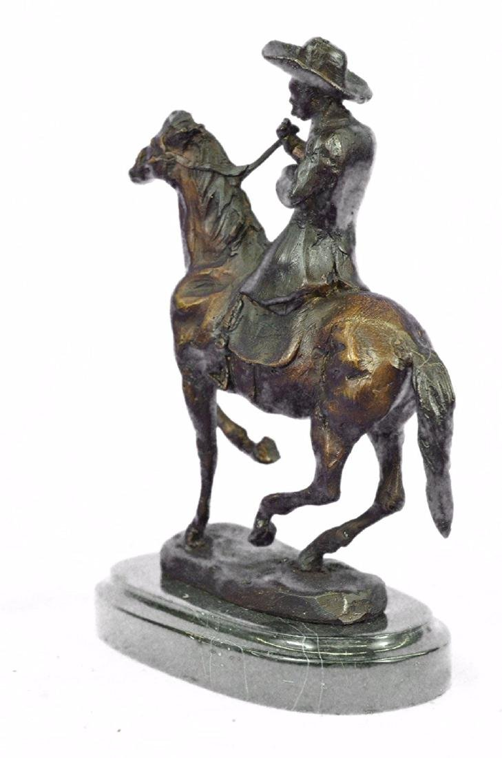 Horse and Cowboy Bronze Sculpture - 7