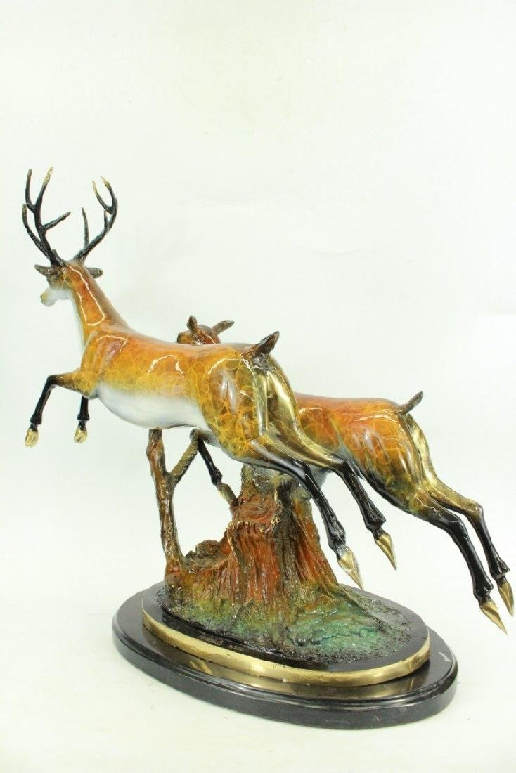 Special Patina Two Running Stags Bronze Sculpture - 4
