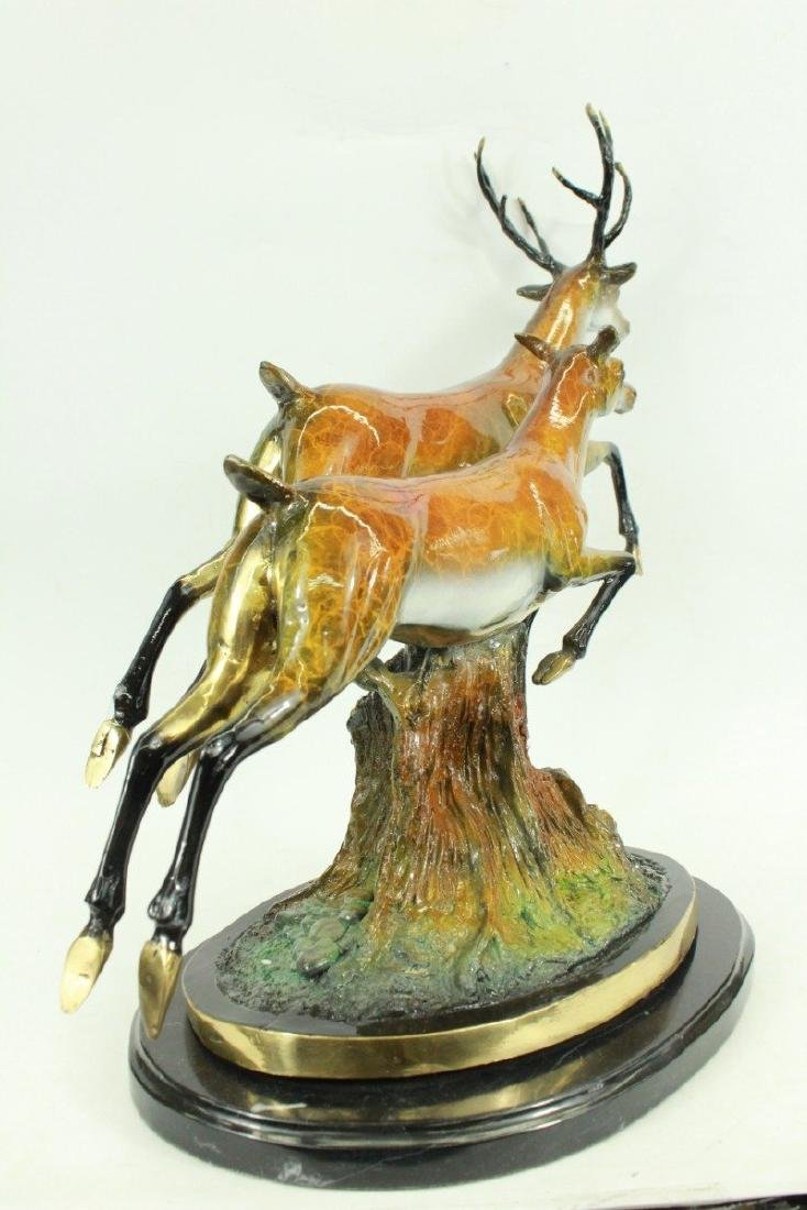 Special Patina Two Running Stags Bronze Sculpture - 5