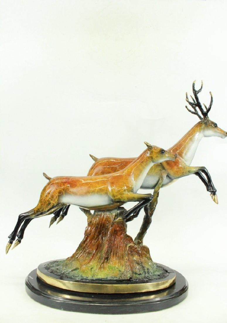 Special Patina Two Running Stags Bronze Sculpture - 6