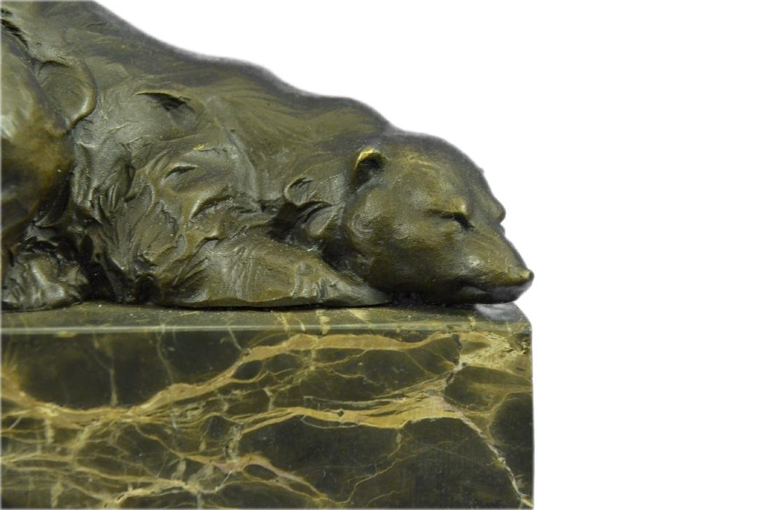 Polar Bear Bronze Sculpture on Marble Base Figurine - 2