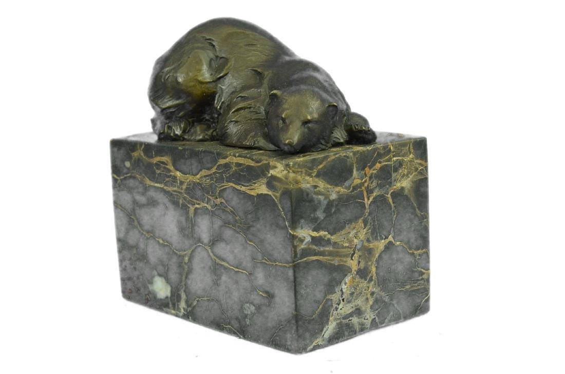 Polar Bear Bronze Sculpture on Marble Base Figurine - 5