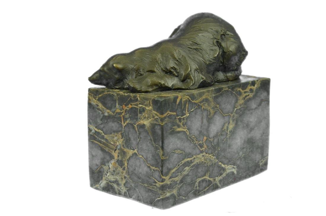 Polar Bear Bronze Sculpture on Marble Base Figurine - 6