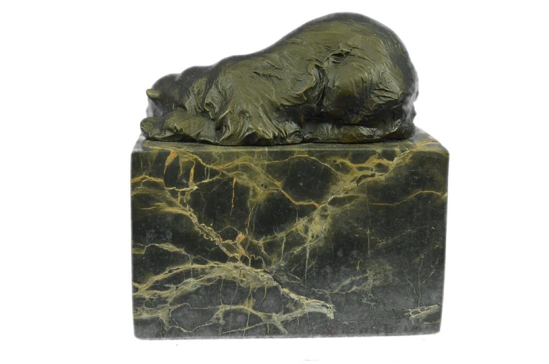 Polar Bear Bronze Sculpture on Marble Base Figurine - 7
