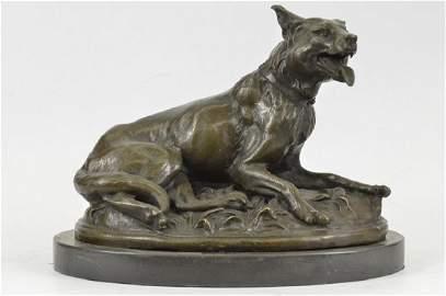 German Sheppard Dog Bronze Statue on Marble Base
