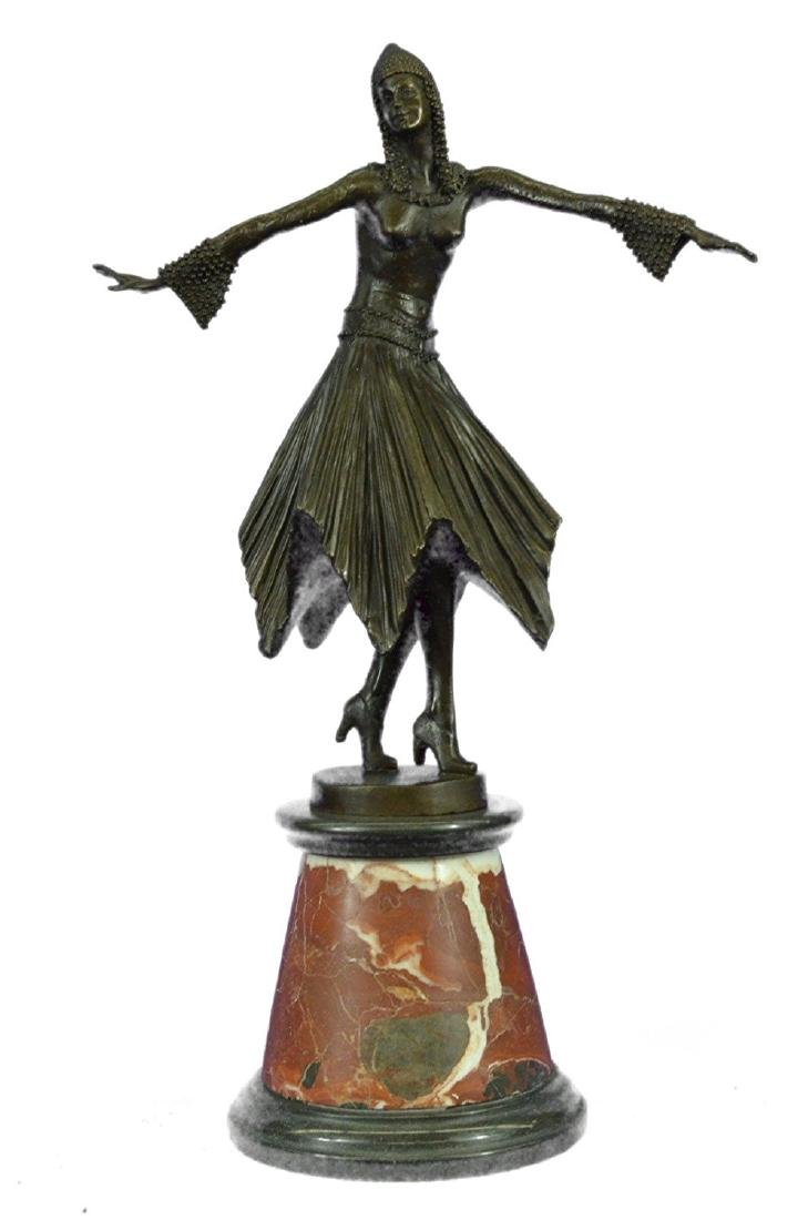 Dancer Bronze Sculpture on Marble Base Statue