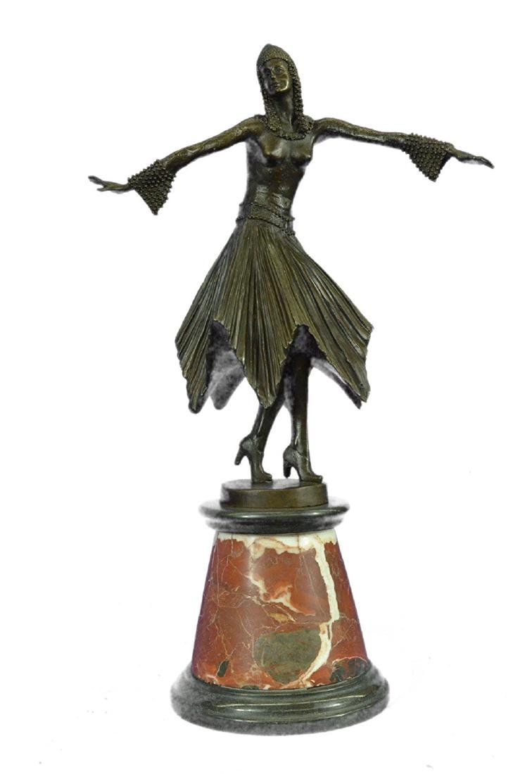 Dancer Bronze Sculpture on Marble Base Statue - 2