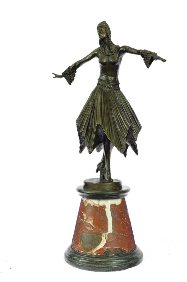 Dancer Bronze Sculpture on Marble Base Statue - 3