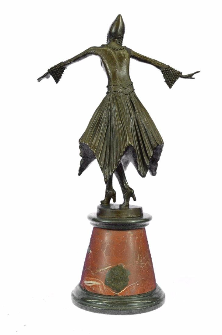 Dancer Bronze Sculpture on Marble Base Statue - 4