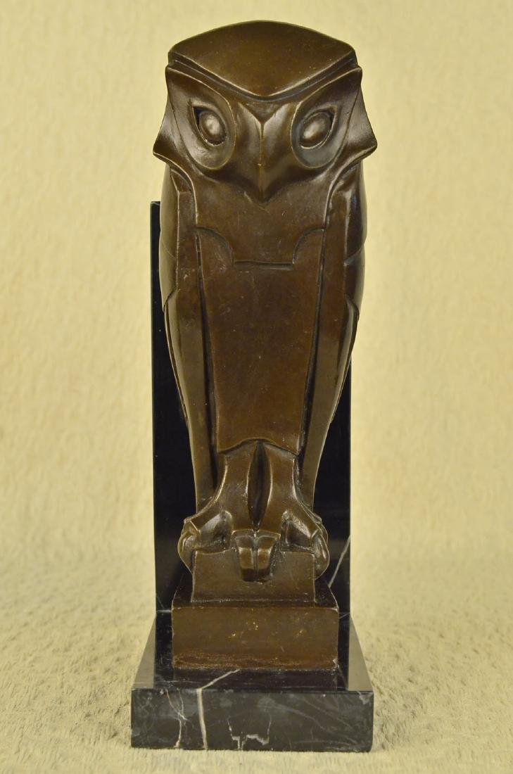 Owl Bronze Sculpture on Marble Base Statue