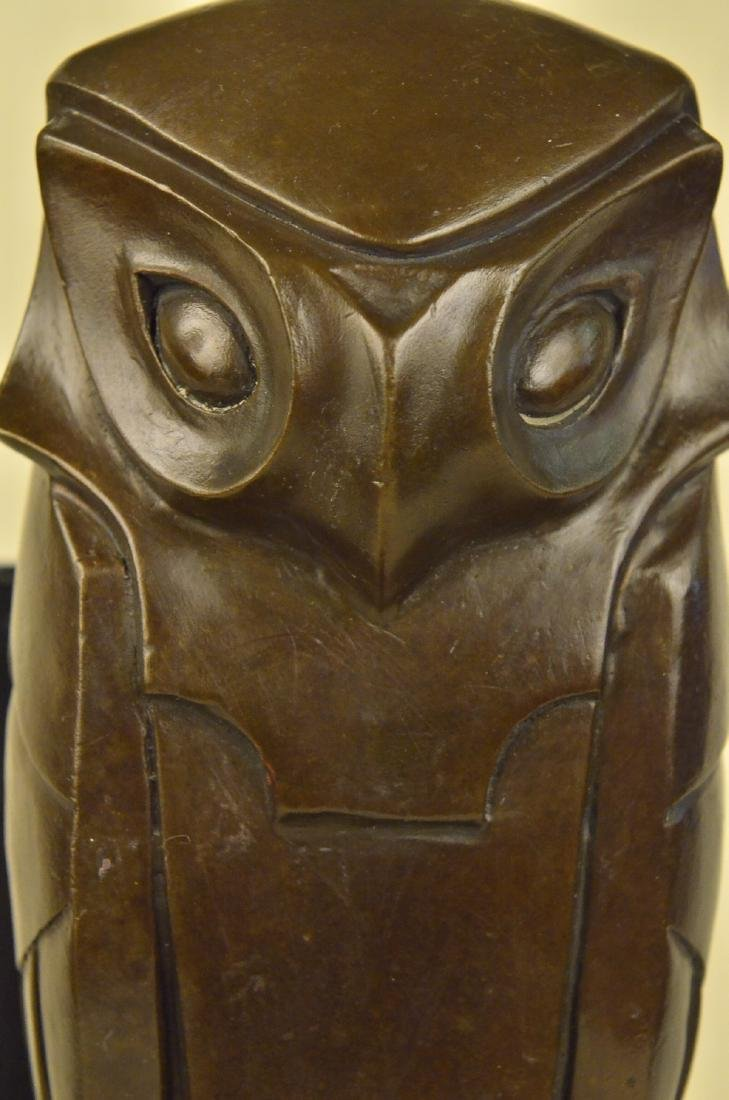 Owl Bronze Sculpture on Marble Base Statue - 2