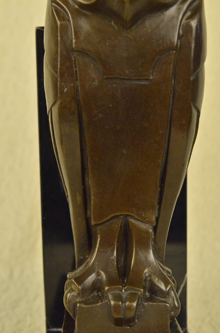 Owl Bronze Sculpture on Marble Base Statue - 3