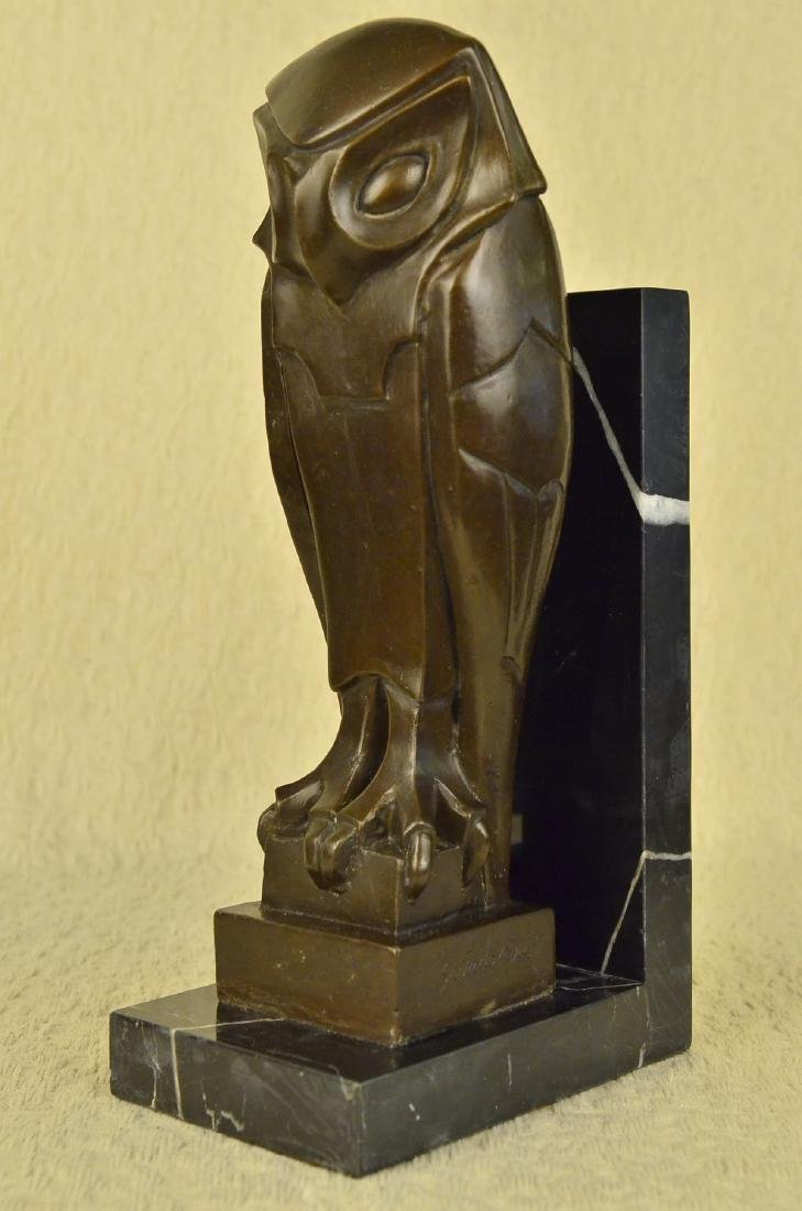 Owl Bronze Sculpture on Marble Base Statue - 4