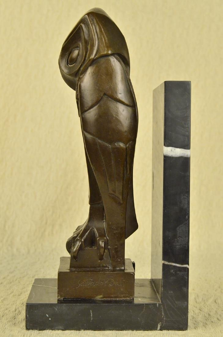 Owl Bronze Sculpture on Marble Base Statue - 5