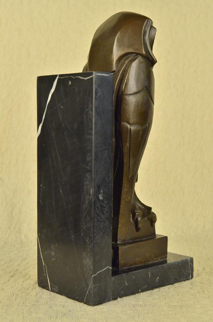 Owl Bronze Sculpture on Marble Base Statue - 7