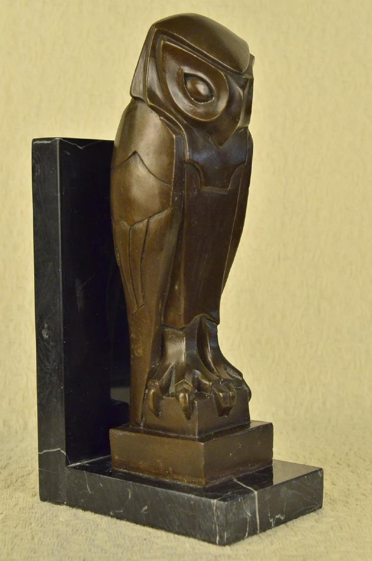 Owl Bronze Sculpture on Marble Base Statue - 8