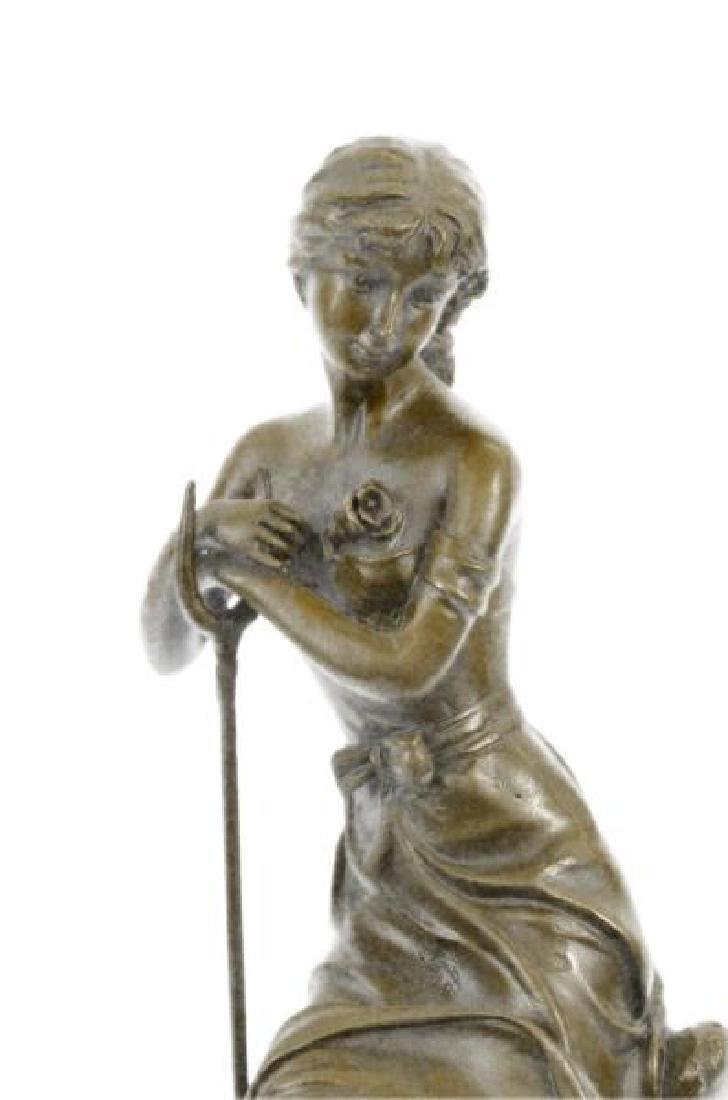 Dreaming Elegant Classic Woman Bronze Statue - 6