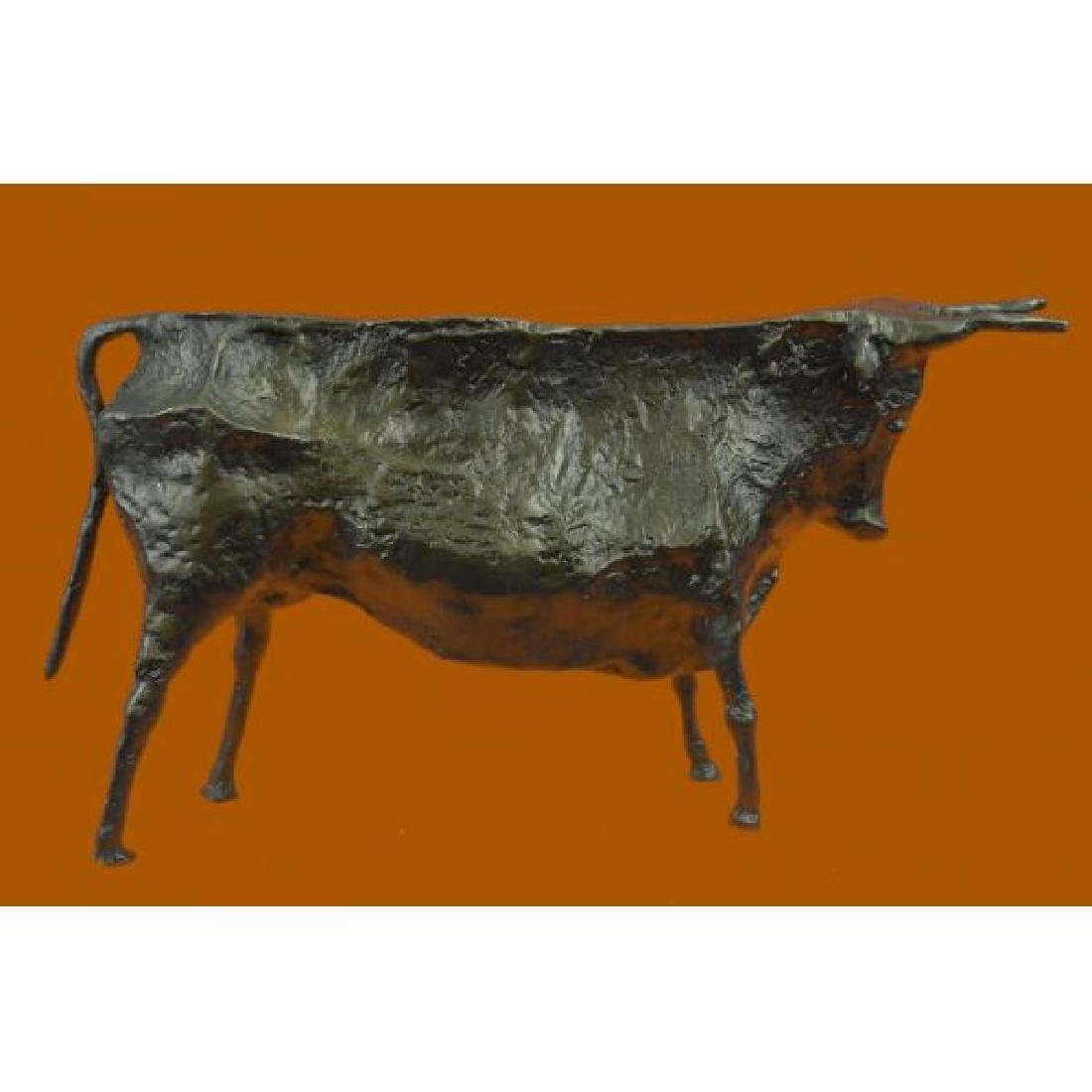 Modern Bull Bronze Sculpture Hot Cast Figurine - 2