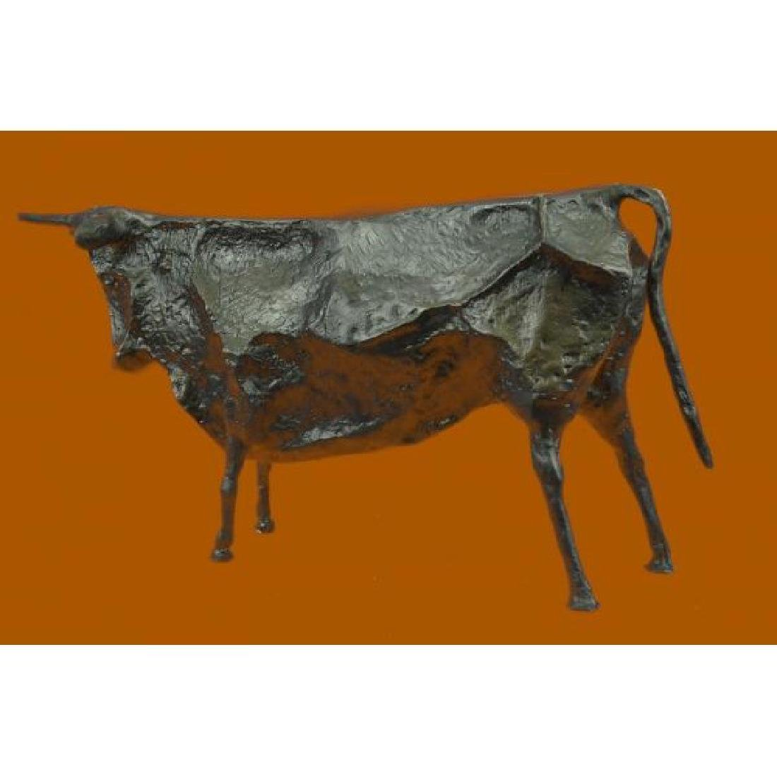 Modern Bull Bronze Sculpture Hot Cast Figurine - 4