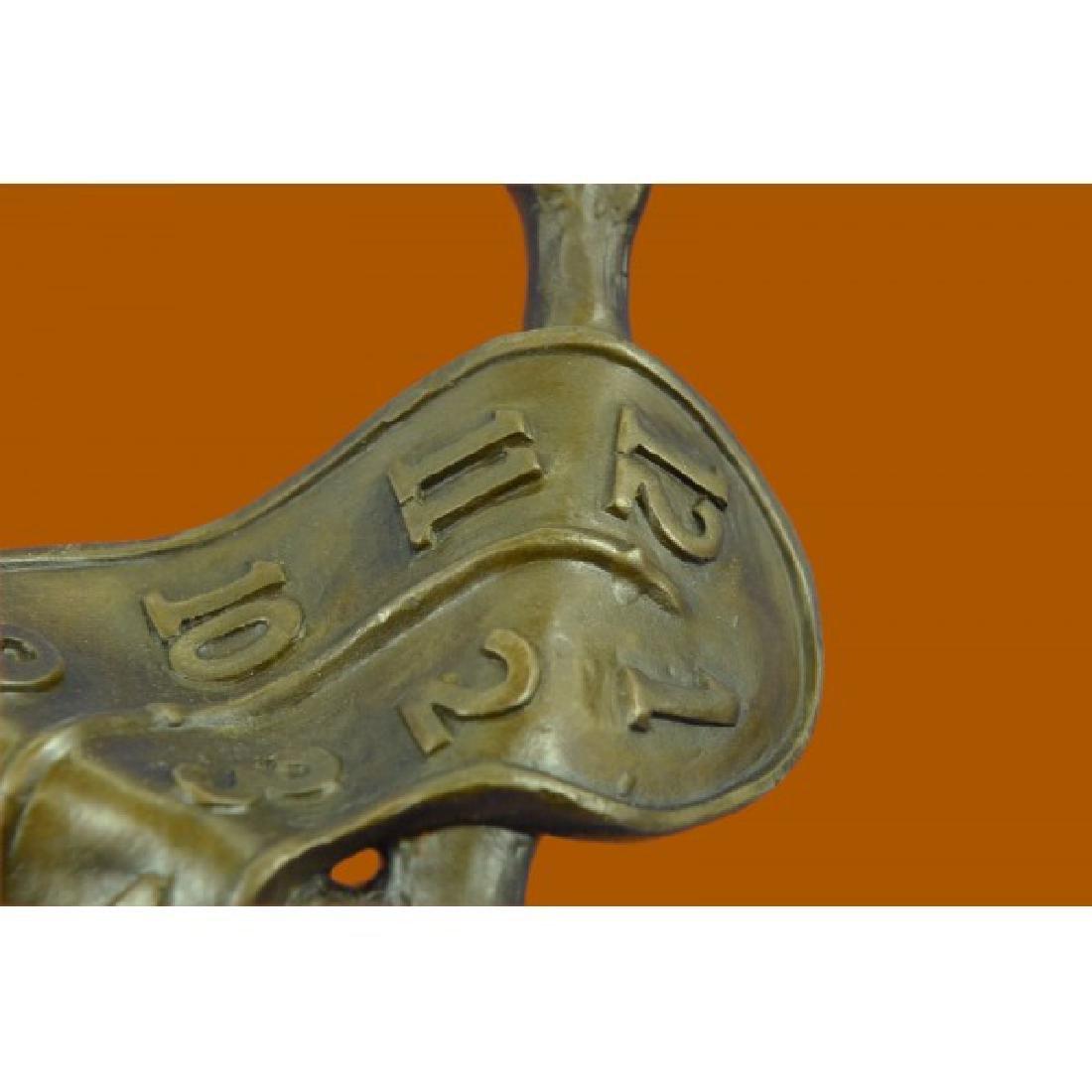 Modern Melting Clock Bronze Sculpture - 4