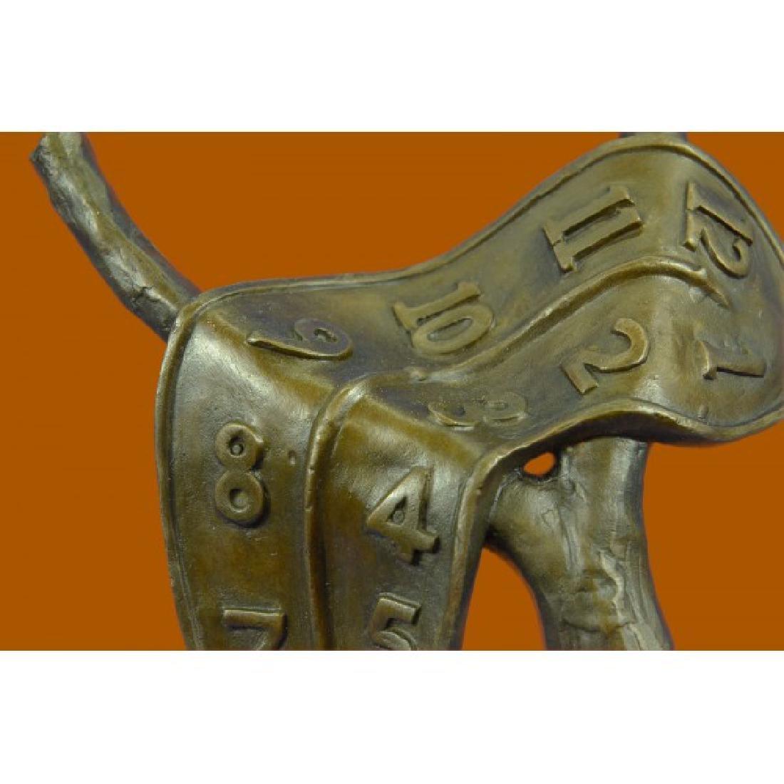 Modern Melting Clock Bronze Sculpture - 5
