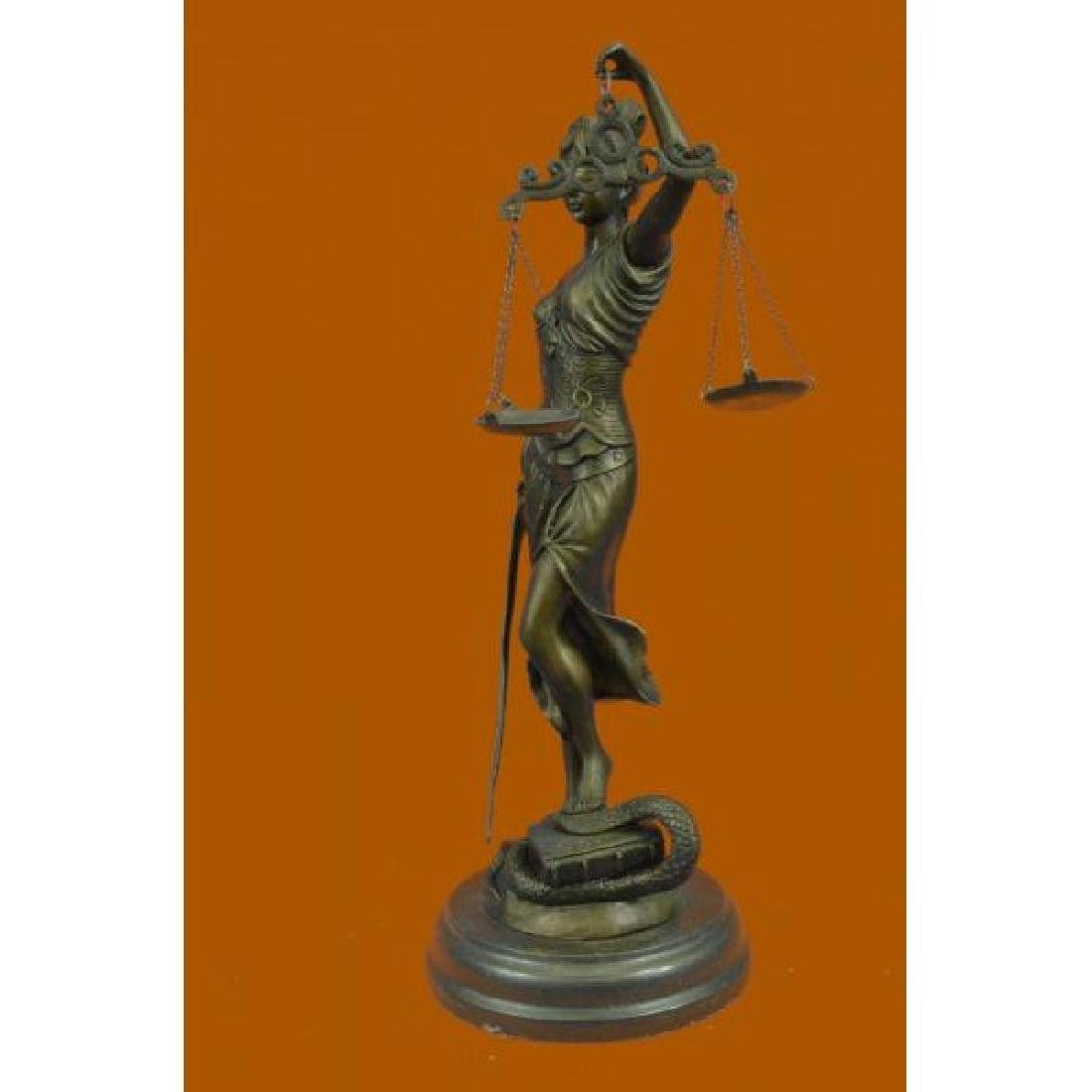 Lady Blind Justice Bronze Statue - 2