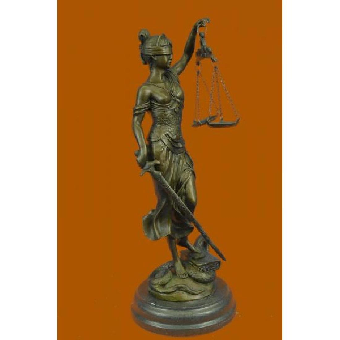 Lady Blind Justice Bronze Statue - 4