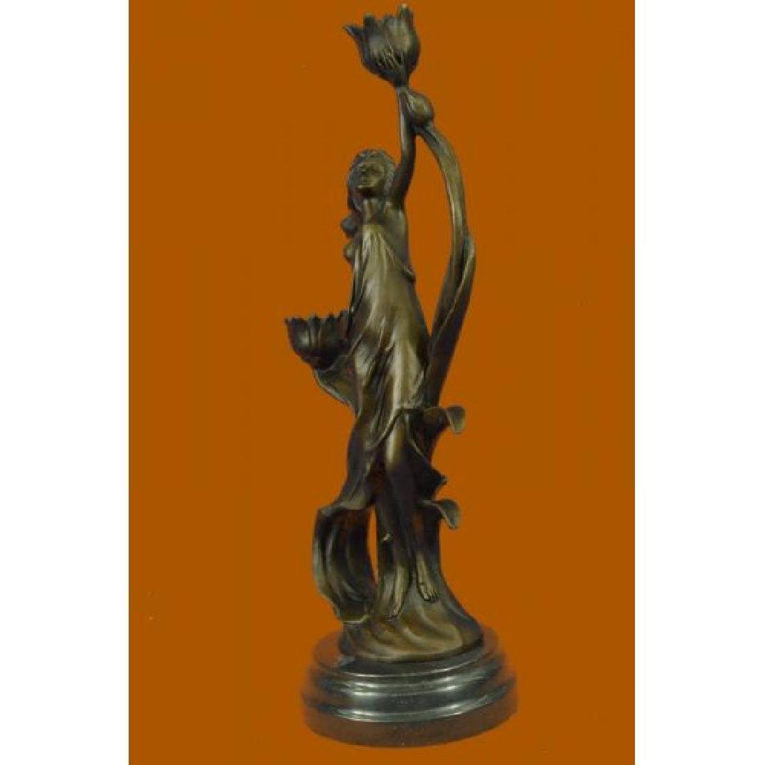 Sexy Nymph with Tulip Candle Holder Bronze Sculpture - 2