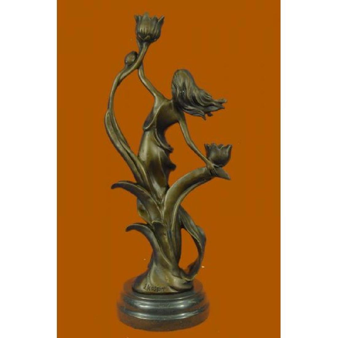 Sexy Nymph with Tulip Candle Holder Bronze Sculpture - 3