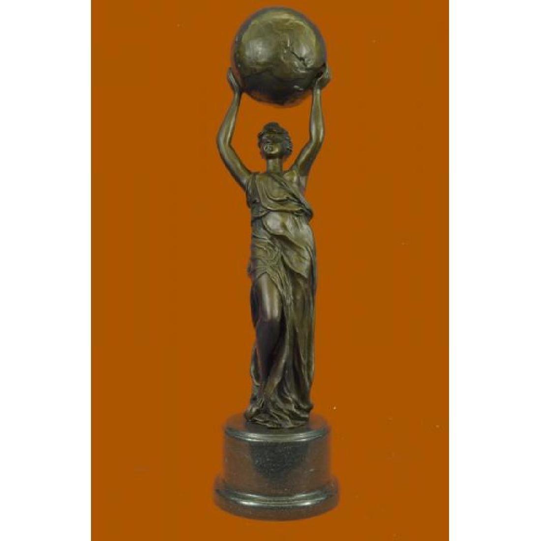 Nude Female Atlas Holding the World Bronze Sculpture