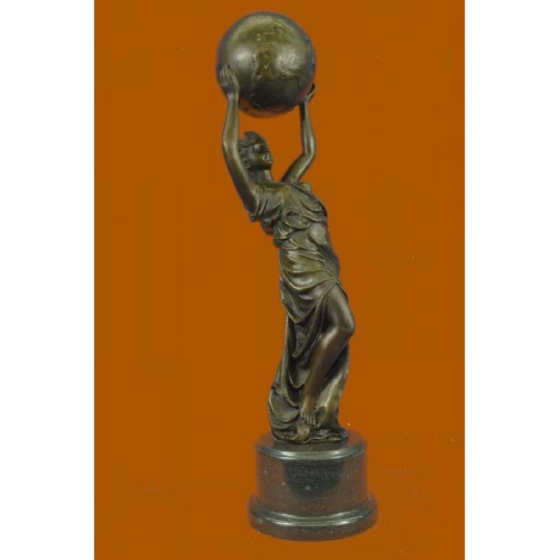Nude Female Atlas Holding the World Bronze Sculpture - 2
