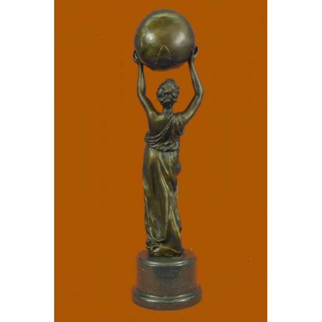 Nude Female Atlas Holding the World Bronze Sculpture - 3
