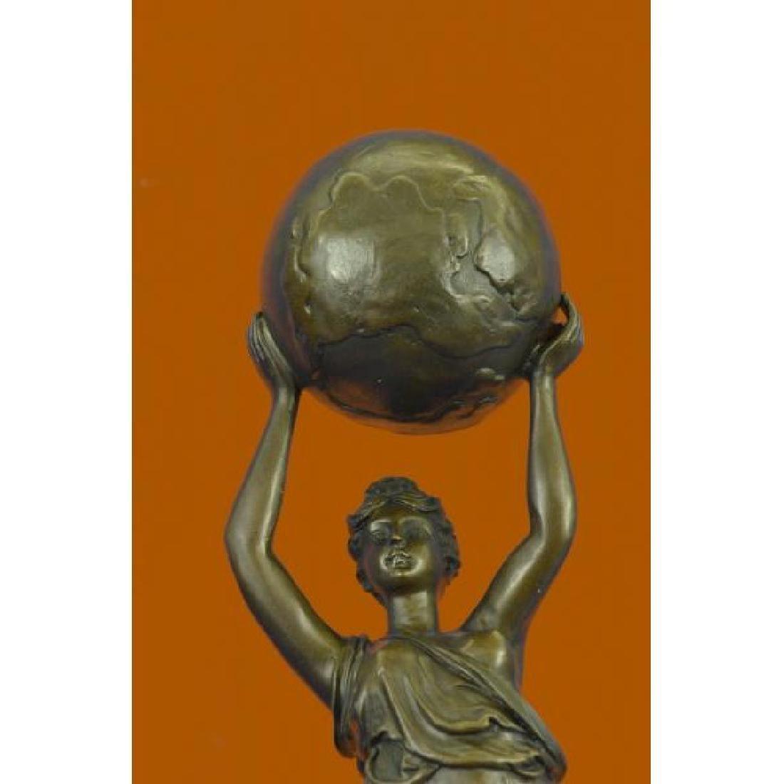 Nude Female Atlas Holding the World Bronze Sculpture - 5