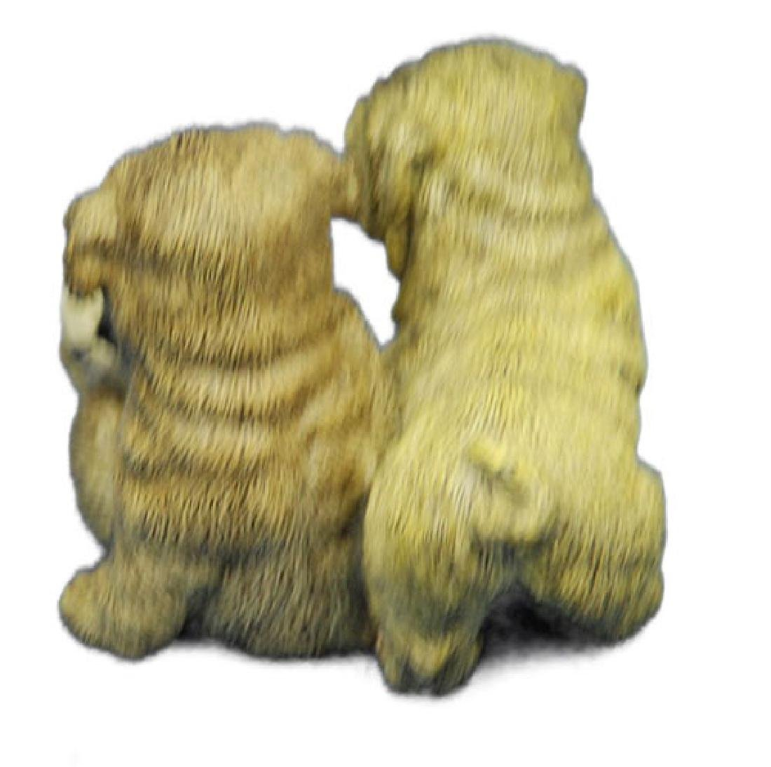 Two Sitting Puppies Dogs Bronze Sculpture - 3