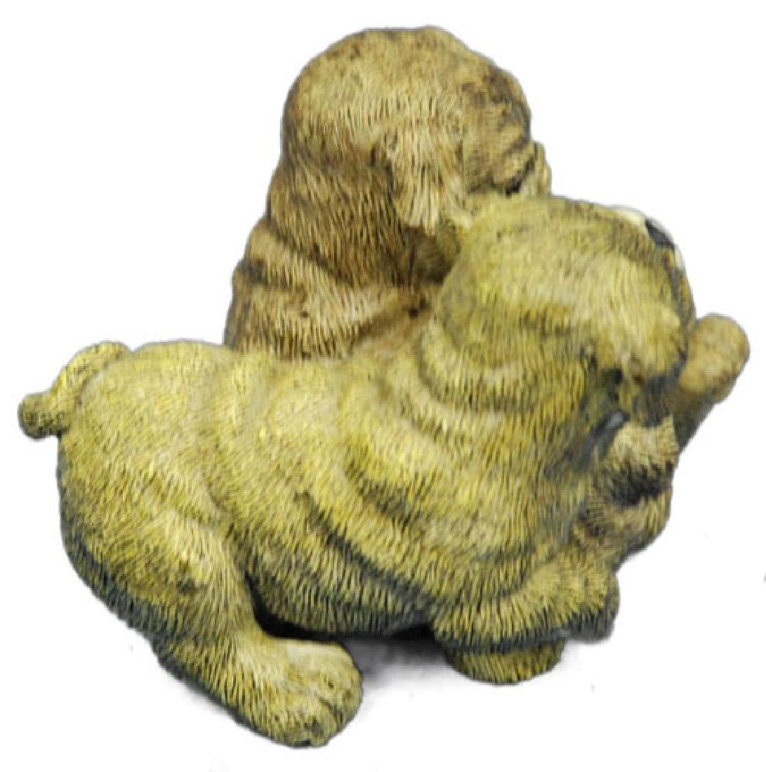 Two Sitting Puppies Dogs Bronze Sculpture - 4