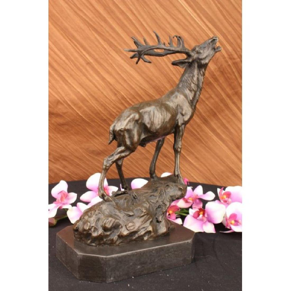 Elk Stag Buck Trophy Game Hunter Bronze on Marble Base