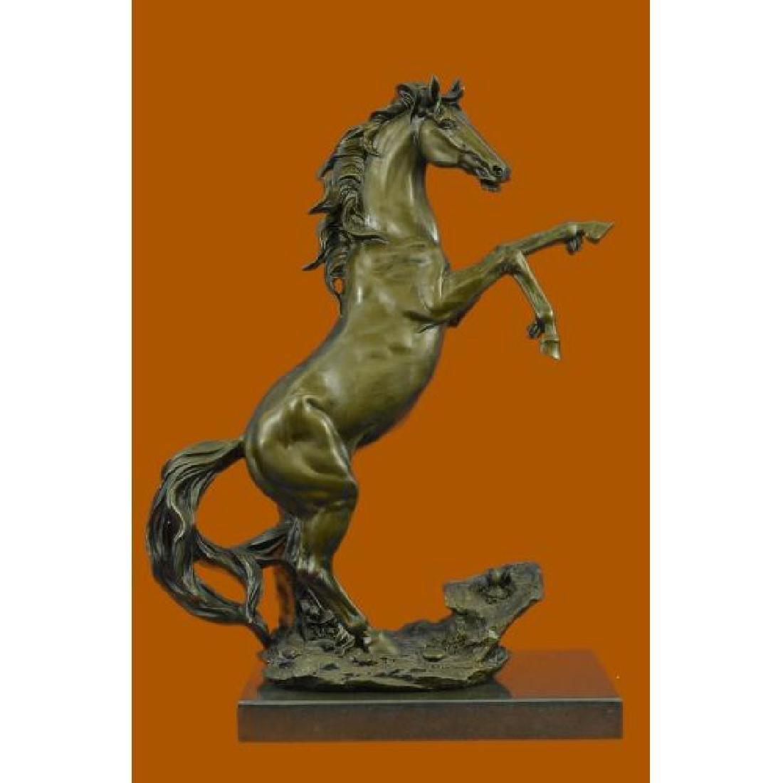 Rearing Wild Stallion Horse Bronze Statue